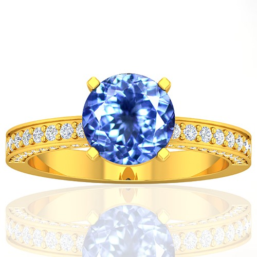 18k Yellow Gold 1.93 cts Round Tanzanite Diamond Wedding Designer Fine Jewelry Ring