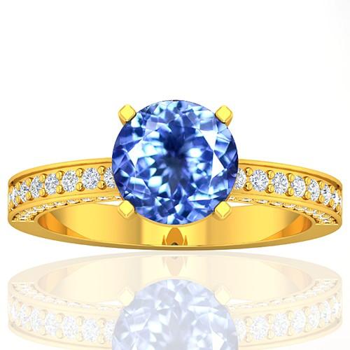 18k Yellow Gold 1.93 cts Round Tanzanite Diamond Wedding Designer Fine Jewelry Ring