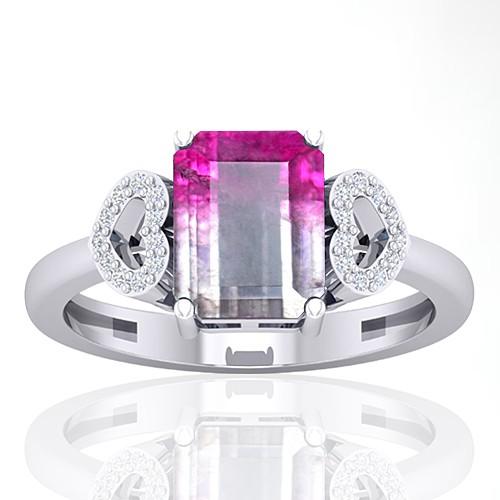 14K White Gold 2.13 cts Tourmaline Stone Diamond Cocktail Designer Fine Jewelry Ring