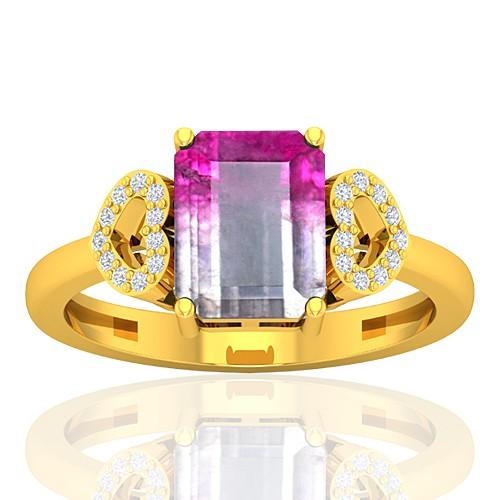 18K Yellow Gold 2.13 cts Tourmaline Stone Diamond Cocktail Designer Fine Jewelry Ring