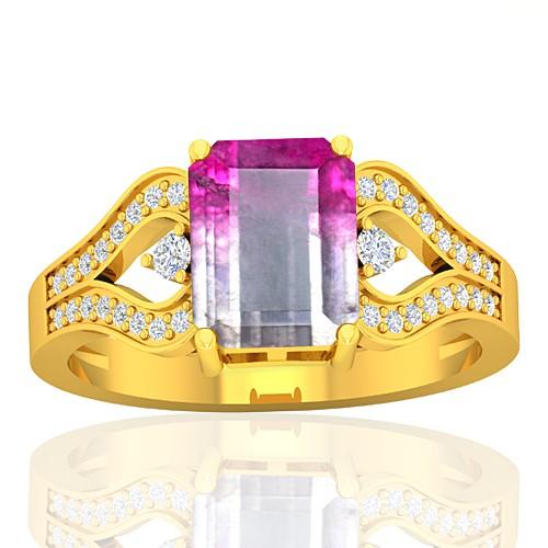 18K Yellow Gold 2.13 cts Tourmaline Stone Diamond Cocktail Engagement Women Jewelry Ring