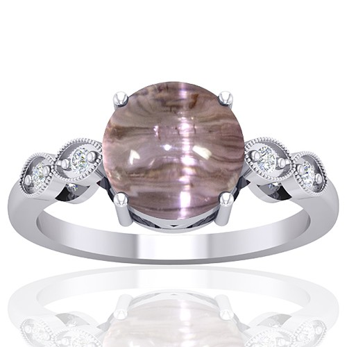 14k White Gold 4.59 cts Tourmaline Diamond Wedding Designer Fine Jewelry Ring