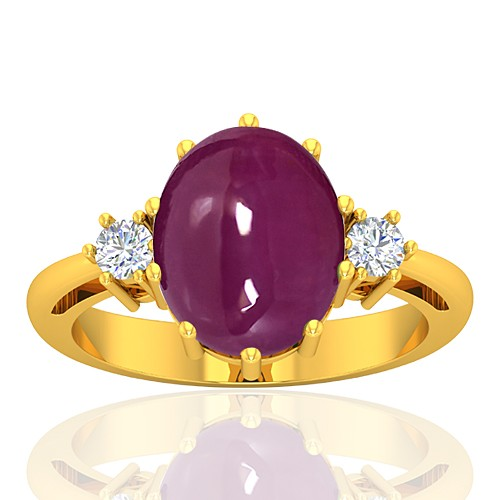 18K Yellow Gold 5.93 cts Ruby Stone Diamond Cocktail Vintage Jewelry Ring