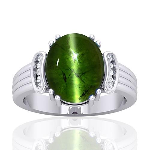 14K White Gold 8.27 cts Tourmaline Gemstone Diamond Women Wedding Designer Fine Jewelry Ring
