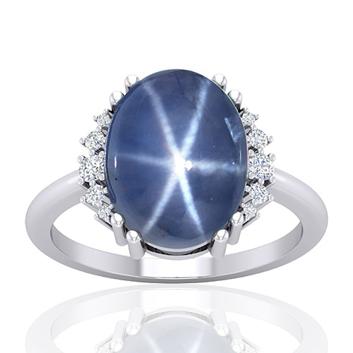 14K White Gold 11.09 cts Sapphire Gemstone Diamond Wedding Designer Fine Jewelry Ring