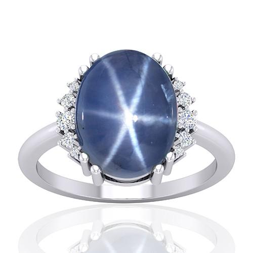 14K White Gold 11.09 cts Sapphire Gemstone Diamond Wedding Designer Fine Jewelry Ring