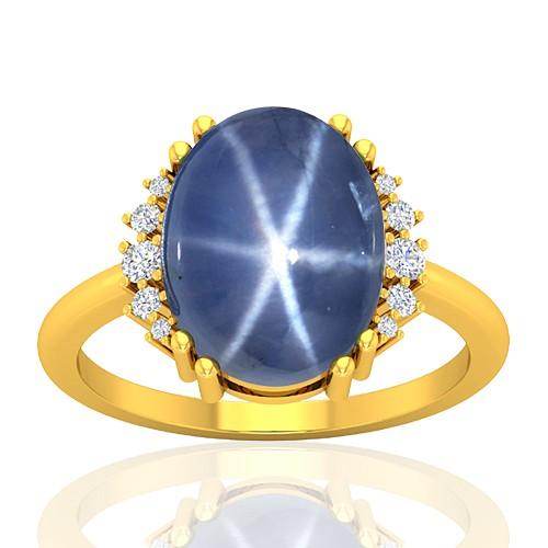 18K Yellow Gold 11.09 cts Sapphire Gemstone Diamond Wedding Designer Fine Jewelry Ring