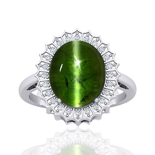 14K White Gold 8.27 cts Tourmaline Gemstone Round Cut Diamond Cocktail Women Wedding Fine Ring