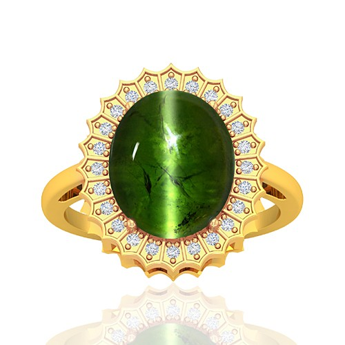 18K Yellow Gold 8.27 cts Tourmaline Gemstone Round Cut Diamond Cocktail Women Wedding Fine Ring
