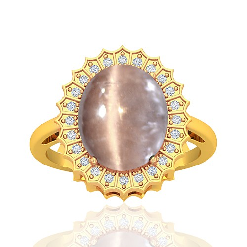 18K Yellow Gold 6.34 cts Tourmaline Stone Round Cut Diamond Cocktail Vintage Engagement Ring