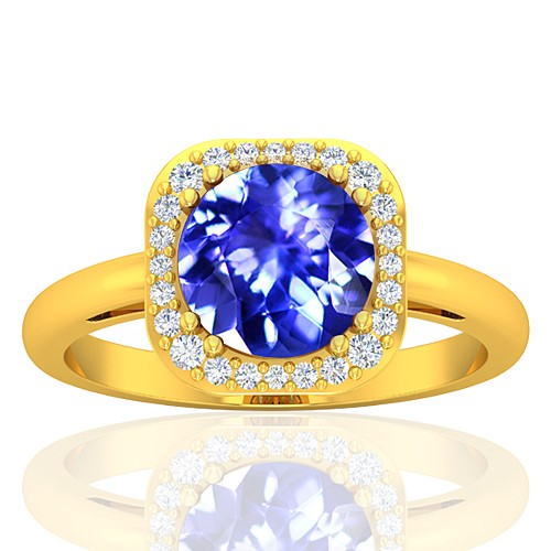 18K Yellow Gold 1.85 cts Tanzanite Gemstone Diamond Cocktail Vintage Fine Jewelry Ring