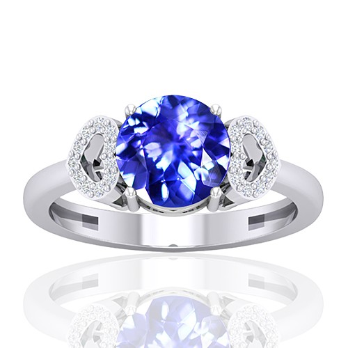 14K White Gold 1.85 cts Tanzanite Gemstone Diamond Women Wedding Designer Fine Jewelry Ring