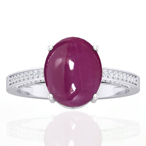 14k White Gold 5.93 cts Ruby Gemstone Diamond Vintage Engagement Fine Jewelry Ring