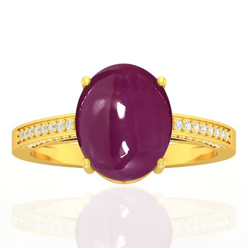 18k Yellow Gold 5.93 cts Ruby Gemstone Diamond Vintage Engagement Fine Jewelry Ring