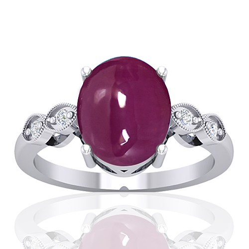 14K White Gold 5.93 cts Ruby Gemstone Diamond Cocktail Vintage Jewelry Ring