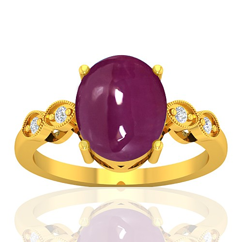 18K Yellow Gold 5.93 cts Ruby Gemstone Diamond Cocktail Vintage Jewelry Ring