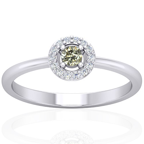 14k White Gold 0.12 cts 3 mm Main Stone Diamond Designer Fine Jewelry Ring