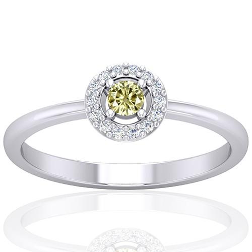 14K White Gold 0.08 cts Diamond main stone Diamond Cocktail Vintage Engagement Women Ring