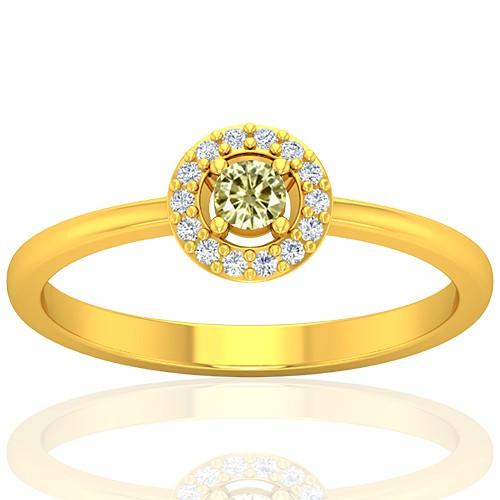 18K Yellow Gold 0.08 cts Diamond main stone Diamond Cocktail Vintage Engagement Women Ring