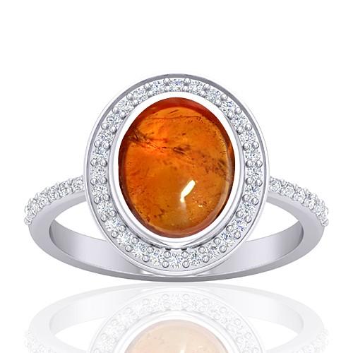 14K White Gold 3.78 cts Rhodolite Garnet Stone Diamond Women Wedding Designer Fine Jewelry Ring
