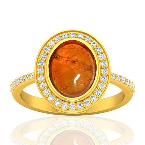 18K Yellow Gold 3.78 cts Rhodolite Garnet Stone Diamond Women Wedding Designer Fine Jewelry Ring