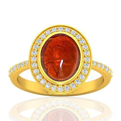 18K Yellow Gold 3.81 cts Rhodolite Garnet Stone Diamond Designer Fine Jewelry Ring