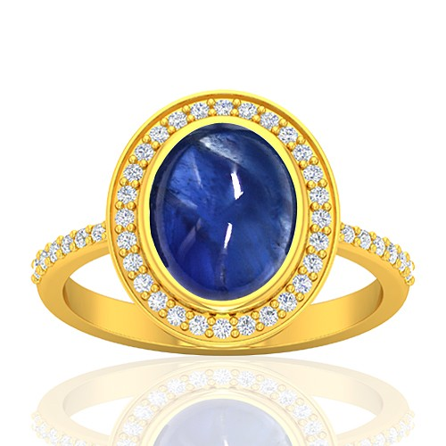 18K Yellow Gold 4.2 cts Sapphire Stone Diamond Cocktail Fine Jewelry Ring