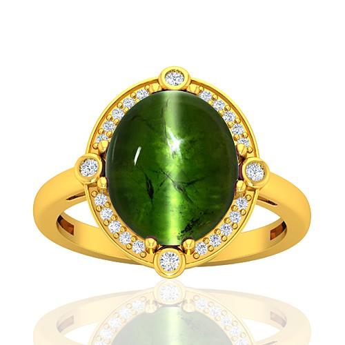 18K Yellow Gold 8.27 cts Tourmaline Gemstone Diamond Engagement Designer Fine Jewelry Ring