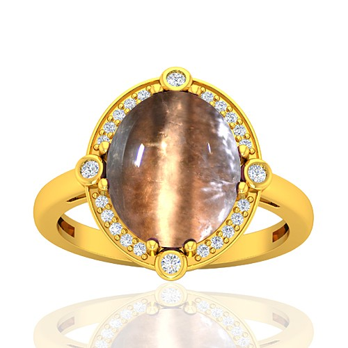 18K Yellow Gold 6.34 cts Tourmaline Stone Diamond Cocktail Engagement Designer Fine Jewelry Ring