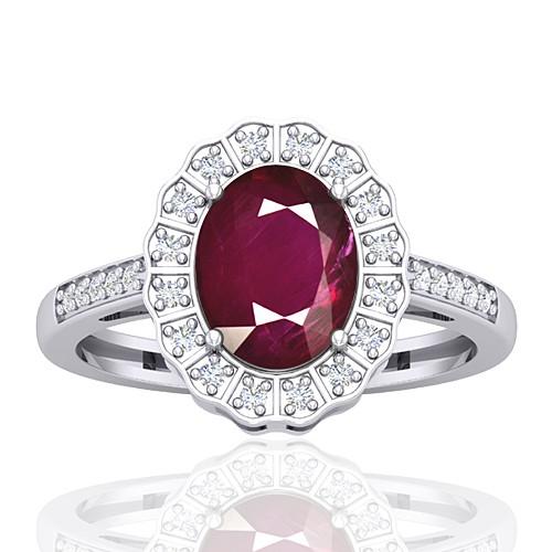 14K White Gold 2.08 cts Ruby Stone Diamond Cocktail Women Wedding Designer Fine Ring