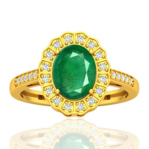 18K Yellow Gold 1.82 cts Emerald Stone Diamond Wedding Designer Fine Jewelry Ring