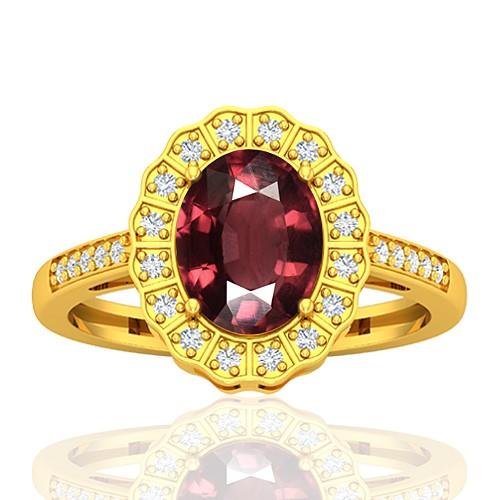 18K Yellow Gold 2.15 cts Rhodolite Garnet Gemstone Diamond Cocktail Designer Fine Jewelry Ring