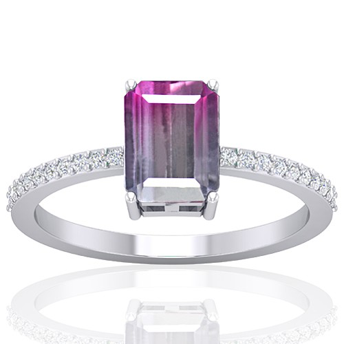 14K White Gold 1.52 cts Tourmaline Stone Diamond Cocktail Engagement Women Designer Fine Jewelry Ring