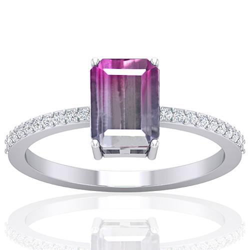 14K White Gold 1.52 cts Tourmaline Stone Diamond Cocktail Engagement Women Designer Fine Jewelry Ring