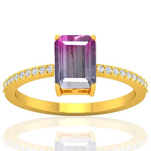 18K Yellow Gold 1.52 cts Tourmaline Stone Diamond Cocktail Engagement Women Designer Fine Jewelry Ring