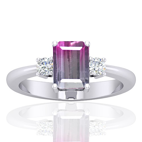 14K White Gold 1.52 cts Tourmaline Stone Diamond Cocktail Designer Fine Jewelry Ring