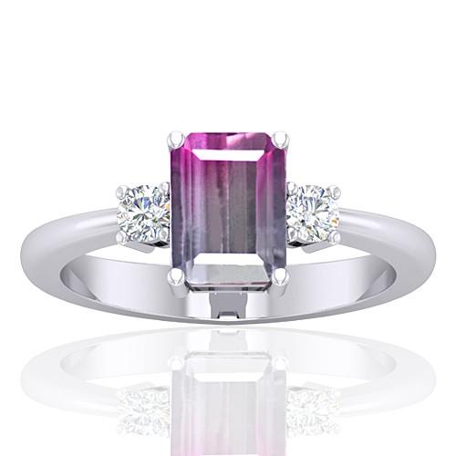 14K White Gold 1.52 cts Tourmaline Stone Diamond Cocktail Designer Fine Jewelry Ring