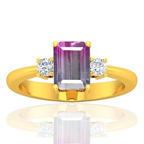 18K Yellow Gold 1.52 cts Tourmaline Stone Diamond Cocktail Designer Fine Jewelry Ring