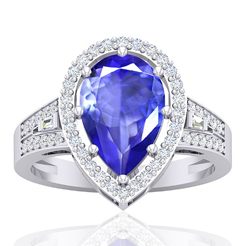 14K White Gold 2.6 cts Tanzanite Gemstone Diamond Cocktail Engagement Women Ring
