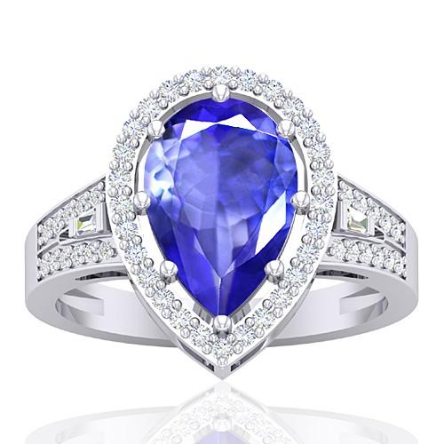 14K White Gold 2.6 cts Tanzanite Gemstone Diamond Cocktail Engagement Women Ring
