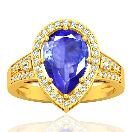 18K Yellow Gold 2.6 cts Tanzanite Gemstone Diamond Cocktail Engagement Women Ring