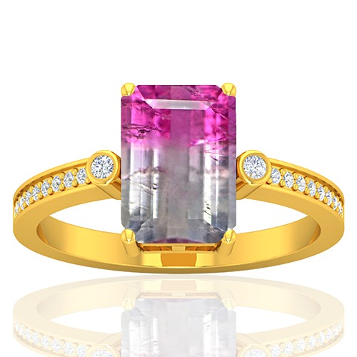 18K Yellow Gold 2.52 cts Tourmaline Stone Diamond Wedding Designer Fine Jewelry Ring