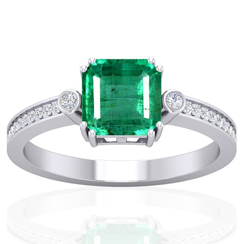 14k White Gold 1.6 cts Emerald Gemstone Diamond Cocktail Vintage Engagement Ring