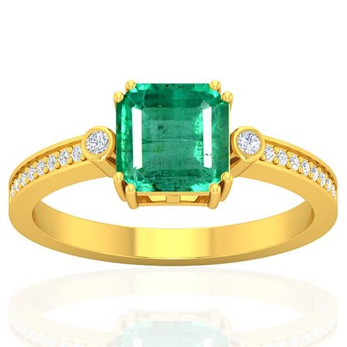 18k Yellow Gold 1.6 cts Emerald Gemstone Diamond Cocktail Vintage Engagement Ring