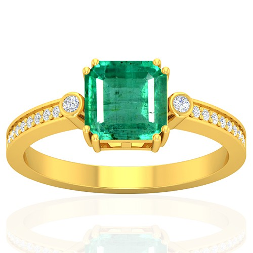 18k Yellow Gold 1.6 cts Emerald Gemstone Diamond Cocktail Vintage Engagement Ring