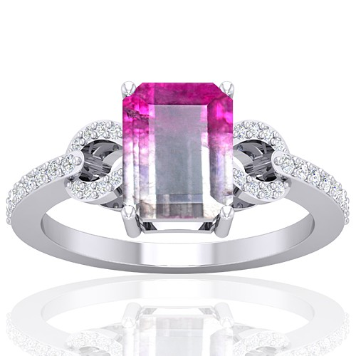 14K White Gold 2.13 cts Tourmaline Gemstone Diamond Engagement Designer Fine Jewelry Ring