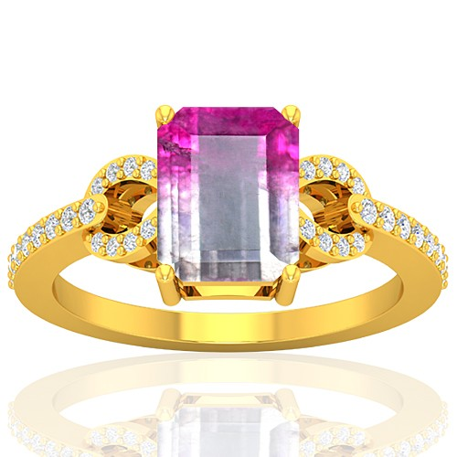 18K Yellow Gold 2.13 cts Tourmaline Gemstone Diamond Engagement Designer Fine Jewelry Ring