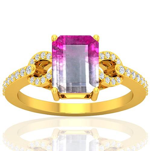 18K Yellow Gold 2.13 cts Tourmaline Gemstone Diamond Engagement Designer Fine Jewelry Ring