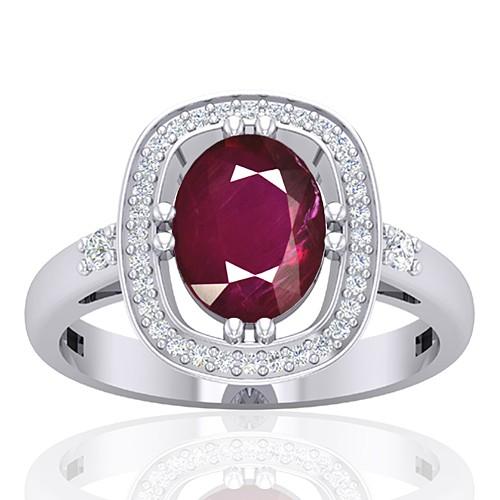 14K White Gold 2.08 cts Ruby Gemstone Diamond Women Wedding Designer Jewelry Ring