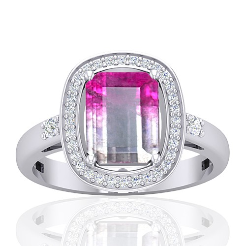 14K White Gold 2.13 cts Emerald Cut 9 x 7 mm Tourmaline Gemstone Diamond Cocktail Ring